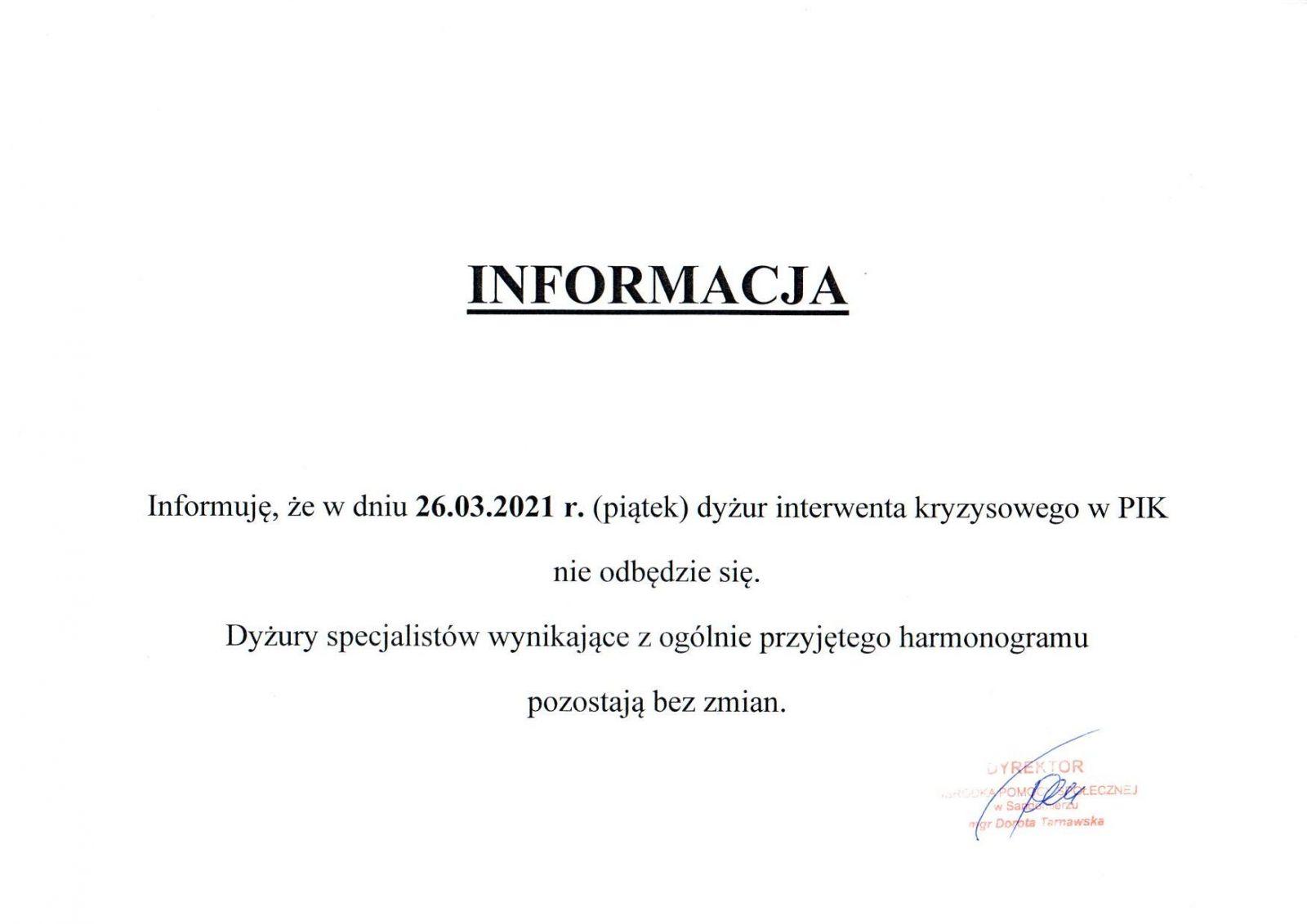 Informacja że w dniu 26.03.2021r. dużur interwenta kryzysowego nie odbędzie się
